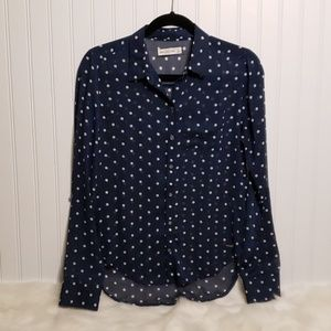 Abercrombie and Fitch Navy and White Polka Dot Top